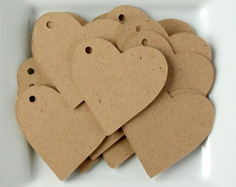 "100 - 2"" Kraft Heart Tags / Wedding Tags / Merchandise Tags / Gift Tags / Hang Tags"