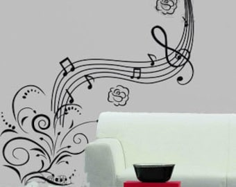 105x105cm Removable Flower Music Note Nature Vinyl Wall Paper Decal Art Sticker Q858