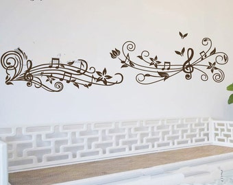 Wide 150cm Removable Flower Music Note  Nature Vinyl Wall Paper Decal Art Sticker Q860-4