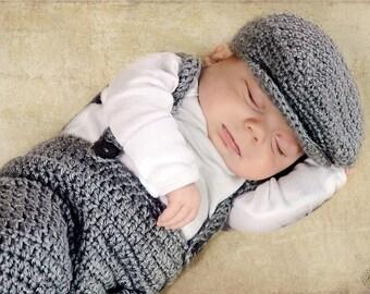Crochet Photo Prop, Photo Prop, Suspender and Golfcap Set, Suspender and Scaly Cap, Boy Baby Shower Gift, Boy Photo Prop, Antique Photo Prop