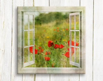 Window view  of red poppy fields printed on canvas