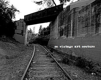 5.99 5 TRAIN TRACKS Photography Sepia and Black and White