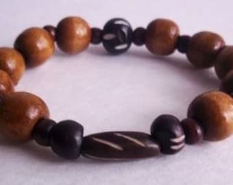 Men's caramel and brown wood bracelet