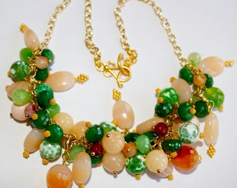 Emerald Statement Necklace Wire Wrapped Peach Adventurine, Green Fire Agate, Green Chalcedony