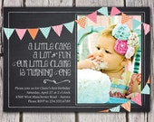 Chalkboard Invitation - Bunting Invitation - Chalkboard Birthday Invite - First Birthday or Any Age & Any Text - Photo Inivitation Printable