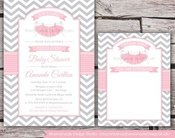 Tutu Cute Baby Shower Invitation AND Thank You Card - Chevron - Pink Grey - Girl Baby Shower - ANY colors - Tutus - Pritable DIY or Ecard