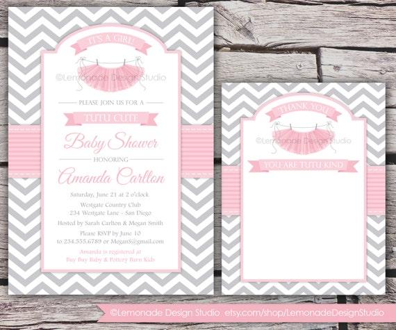 Tutu cute baby shower invitation and thank you card chevron pink il570xn filmwisefo