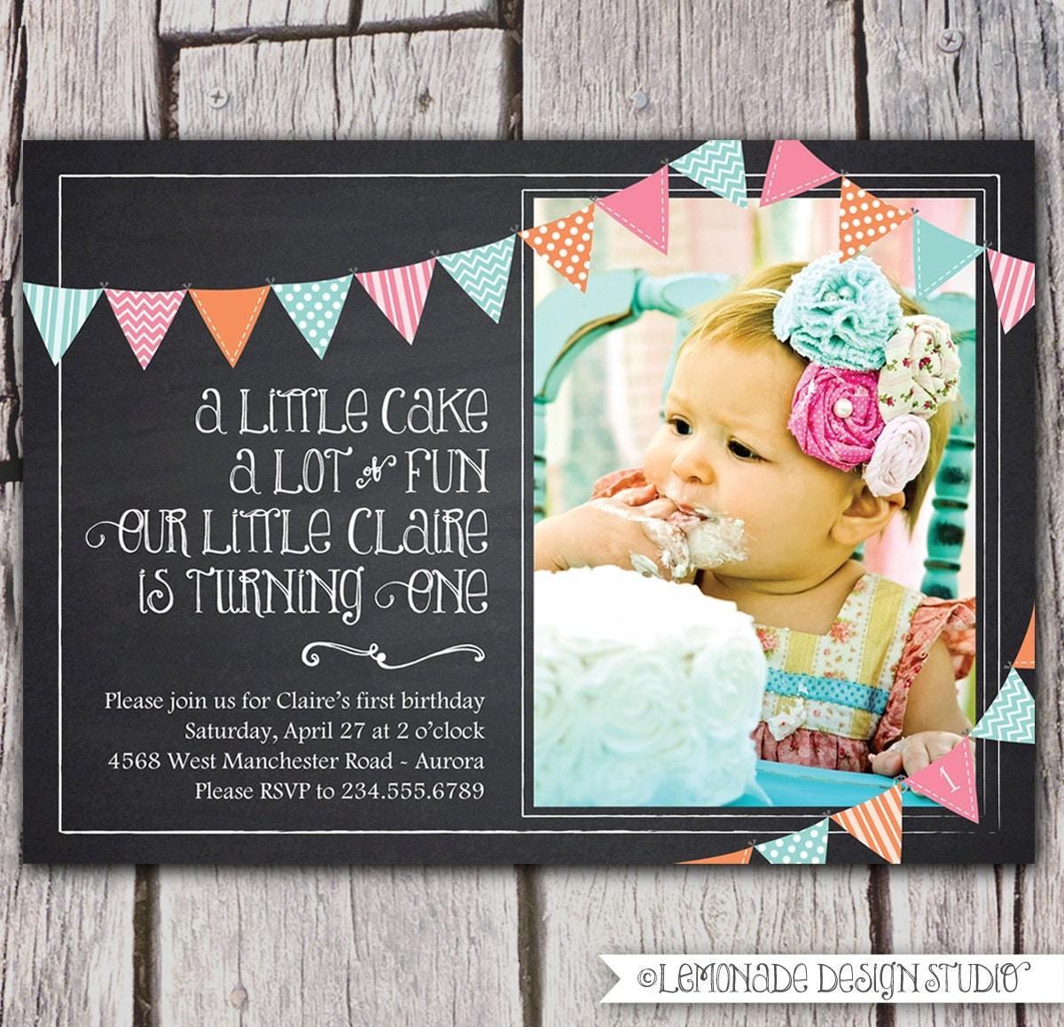 First Birthday Invitation Chalkboard Invitation Bunting