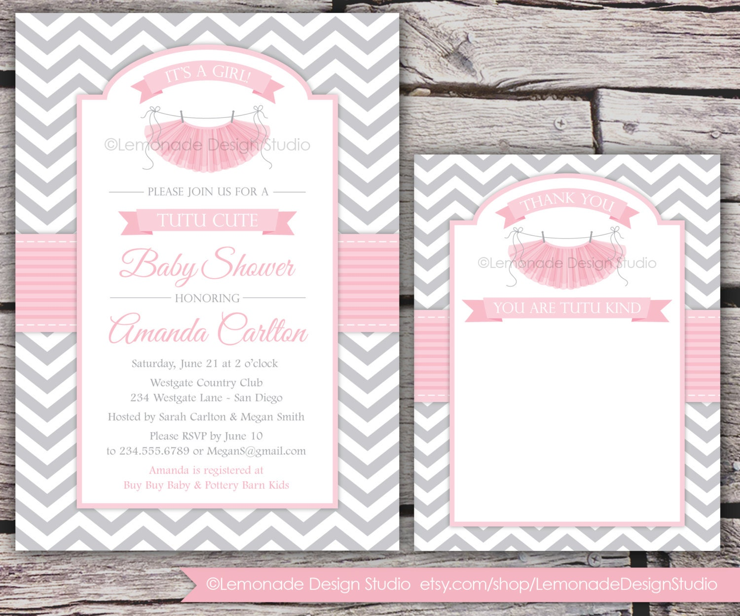tutu cute baby shower invitation and thank you card chevron, Baby shower invitations