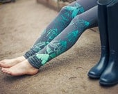 Mint beetles - leggings - ZIBtextile