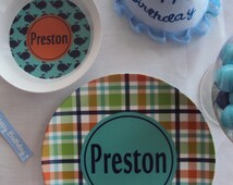 Personalized Plate and Bowl Set Childrens Plate and Bowl Kids Plates Melamine Dinnerware Toddler Monogrammed