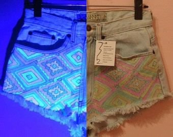 Glow-In-The-Dark Aztec Shorts (Handmade - Made to Order - Re-Purposed Vintage)