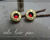 Bullet Jewelry - Bullet Bobby Pins w/brassr Winchester 45 auto Casing w/ Crystal center,bullet hairpins
