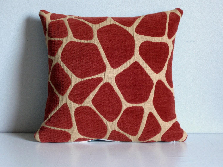 Reversible Animal Pillow : Orange Giraffe Pillow Cover 16x16 Reversible Animal Print and