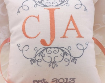 Monogram Personalized Ring Bearer Pillow III (RB107)