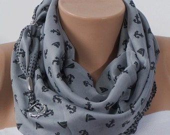 GRAY SCARF. Anchor Scarf. Headband. Fashion Scarf. For 4 seasons. Valentine's Scarf. Spring Scarf.