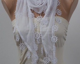 WHITE Scarf with fringe. Spring and Summer Scarf with fringe. ON SALE.