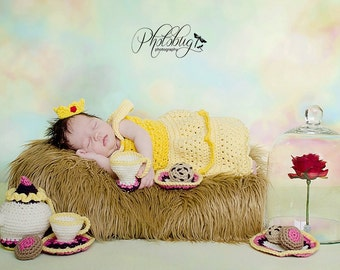 crochet  Disney's Belle from 'Beauty and the Beast' inspired princess dress- sizes newborn-12months