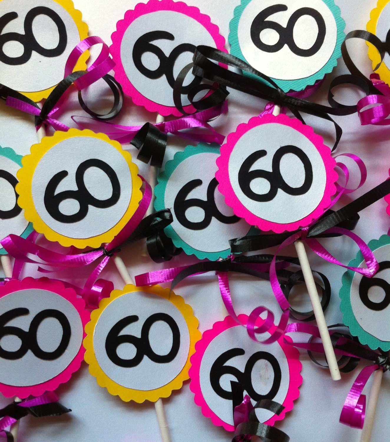 Cupcake Decorating Ideas For 60th Birthday : 60th Birthday Decorations Cupcake Toppers