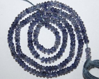 Natural AAA Quality Iolite 3 to 4mm Faceted Rondell Gemstone Beads 13 Inches FRN06