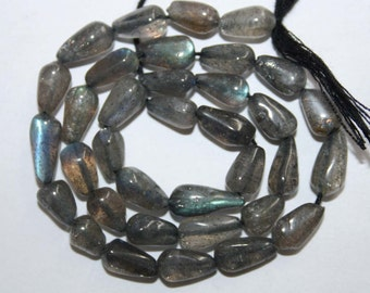Natural AAA Quality Labradorite 5X8 to 5X10mm Smooth Top Drill Drop Gemstone Beads 13 Inches TD010