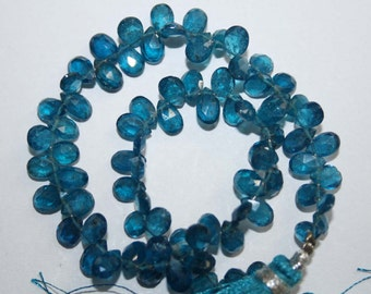 Natural AAA Quality Neon Blue Apatite 4X6 4X7mm Faceted Pear Gemstone Beads 7 Inches FBL40