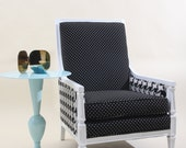 RESERVED FOR LORI Upholstered Polka Dot and Houndstooth Refurbished Vintage Arm Chair