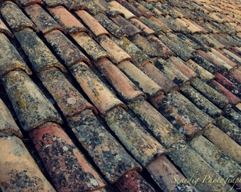 Dubrovnik Croatia Roof Top Abstract Photo. Rustic Photograph Print.  Pink Grey Black Copper Red Tiles. Red Rooftops. Travel Photography.