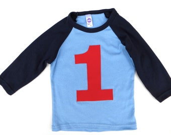 Boys Birthday Shirt Red 1 on a Baby Blue and Navy Raglan 1st, 2nd, 3rd.