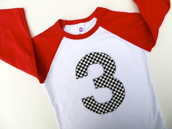 Race Car Checkered Flag Boys Birthday Shirt 3 by ...
