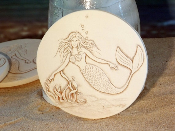 Mermaid absorbent clay drink coasters set of 4 by shaynemccarter - Drink coasters absorbent ...