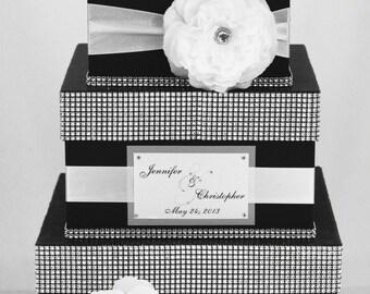 Wedding Card box / Card holder / Wedding money box - 3 tier - Personalized - black