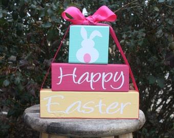 Happy Easter wood block set
