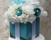 Wedding Decorations Centerpiece Bridal Shower Sweet 16 Silk Flower Centerpiece Table Decoration Tiffany Blue Gift Box