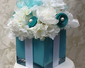 Wedding Decorations Centerpiece Bridal Shower Sweet 16 Silk Flower Centerpiece Table Decoration Tiffany Blue Gift Box