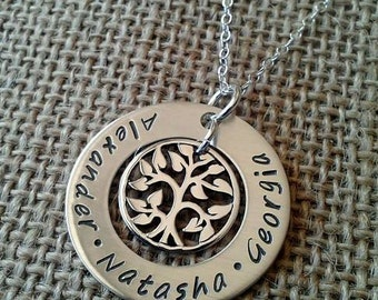 Mother Necklace - Grandma Necklace - Family Washer Necklace with Kids Names and Tree of Life by Stamped Evermore