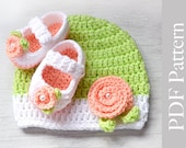 Crochet Baby Hat and Booties Newborn Size, Photo Prop, PDF Pattern