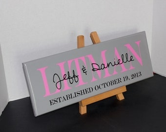 Family Last Name Established Wedding Sign. Wedding Gifts, Bridal Shower or Anniversary