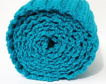 Clearance Holiday SALE Crochet Basic Ribbed Scarf in Teal Extra Long