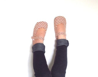 Toddler Soft Sole Orange Chevron MaryJane Shoes
