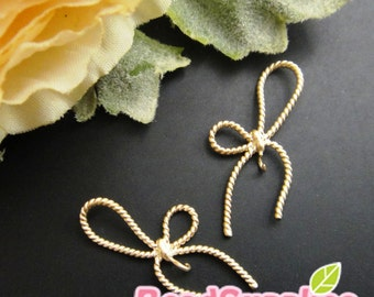 CH-ME-02216- 14k gold plated, Oblique twisted ribbon charm, 4 pcs