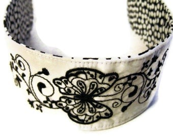 Butterfly Embroidered Reversible Headband Recycled Paraglider Black and White