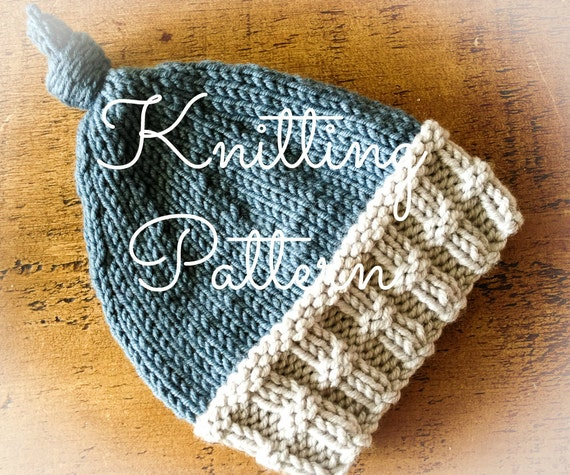 Knitting Pattern - Chunky Alfie Baby Hat  - Instant Download