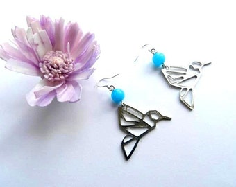 Hummingbird Origami Dangle Earrings Bright Blue Aquamarine - Bird Earrings - Cute - Fun