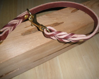 "latigo leather slip/choke collar 5/8"" X 20.75"" with sliding ring and brass snap"