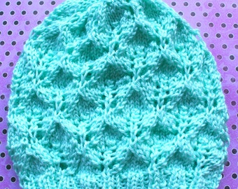 Knit Hat - Slouchy Hat with Leaf Motif in Mint Green - READY TO SHIP