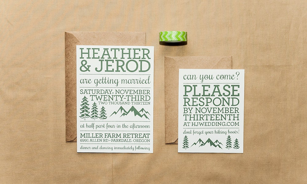 Camping Wedding Invitations: Rustic Mountain Wedding Invitation Set Letterpress By