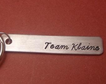 Team Klaine - A Hand Stamped Aluminum Keychain