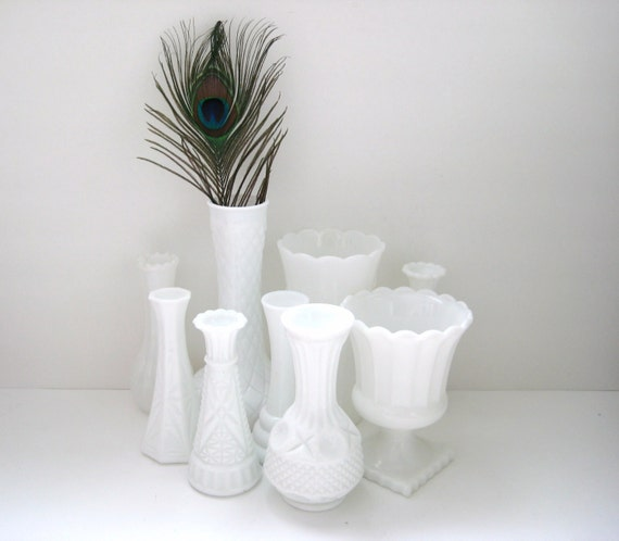 RESERVED for ALYX Milk Glass - Collection of Vases - 9 - Vintage - White Wedding Decor