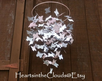 Baby Girl Butterfly Mobile Pink Grey White Gray Shabby Chic Nursery Shower Gift Photo Prop